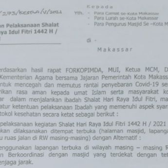 Simak, Ini Panduan Salat Idul Fitri 1442 H dari Pemkot Makassar