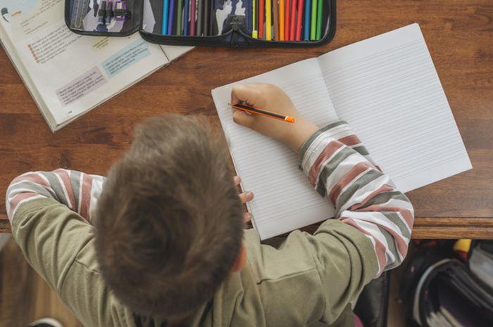 Ilustrasi siswa belajar di rumah.
