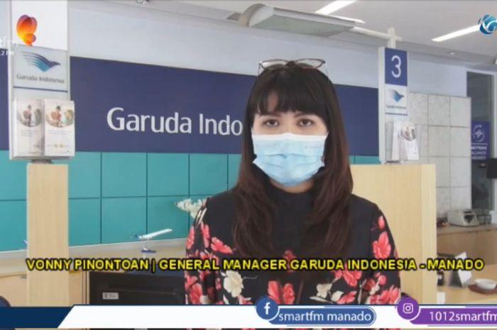 Vonny Pinontoan General Manager Garuda Indonesia, di kantor Garuda Indonesia manado, di Manado, Sulawesi Utara, Kamis (4/3/2021).