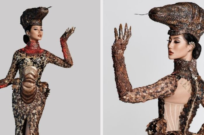 Kostum Komodo yang dikenakan Ayu Maulida di Panggung Miss Univers