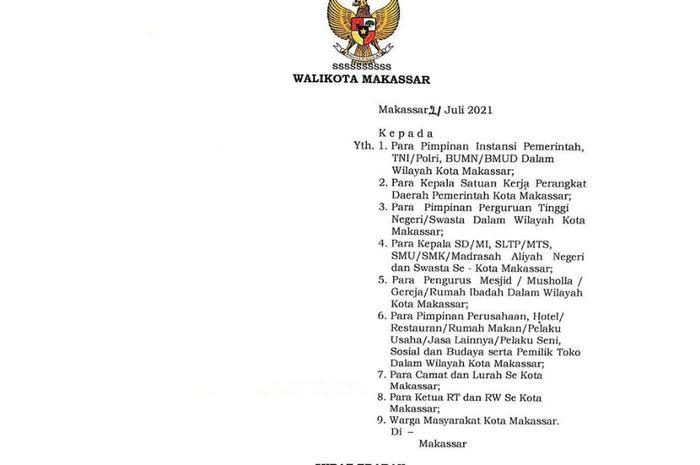 Postingan Instagram Wali Kota Makassar Danny Pomanto mengenai perpanjangan PPKM
