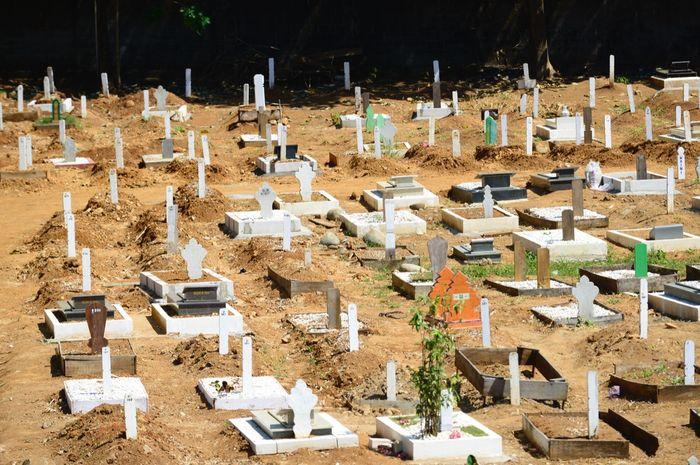 Kondisi terakhir pemakaman khusus Covid-19 di Macanda, Kabupaten Gowa. Kapasitas lahan nyaris terisi penuh.