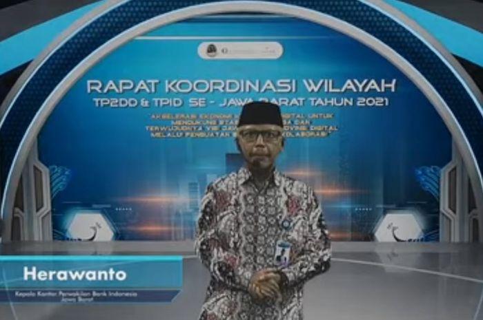 Kepala Bank Indonesia Provinsi Jawa Barat Herawanto, saat sambutan di pembukaan Rakorwil, Selasa (27/7/2021)