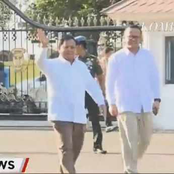 Prabowo dan Edhy Datangi Istana Negara Mengenakan Kemeja Putih
